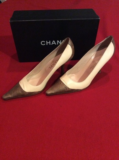 Chanel Pink and Brown Lizard Spectator Pumps Image 1
