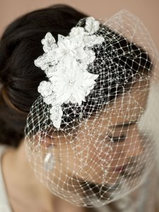 Mariell White Birdcage French Net Vintage with Beaded & Floral Lace Applique 4104v-w Bridal Veil