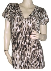 Dana Buchman Top black, brown, taupe, some gray