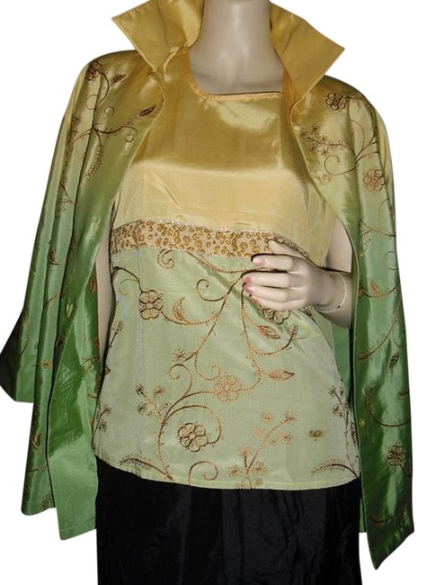 Preload https://img-static.tradesy.com/item/11612974/diane-gilman-yellow-and-green-ombre-silk-2pc-gold-w-embroidery-tank-cardigan-button-down-top-size-8-0-1-650-650.jpg