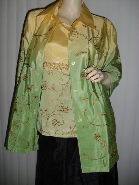 Diane Gilman Button Down Shirt yellow and green ombre Image 1