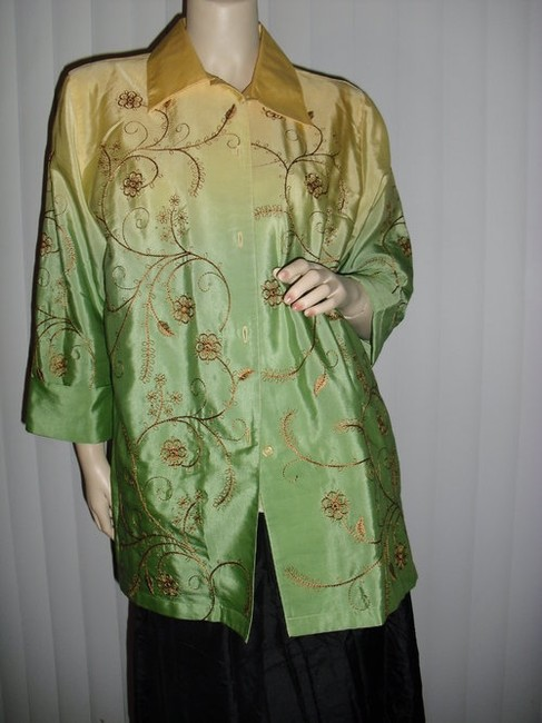 Diane Gilman Button Down Shirt yellow and green ombre Image 2