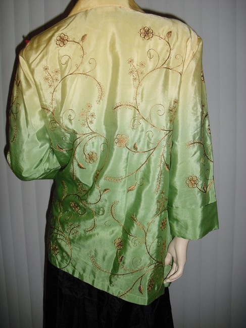 Diane Gilman Button Down Shirt yellow and green ombre Image 5