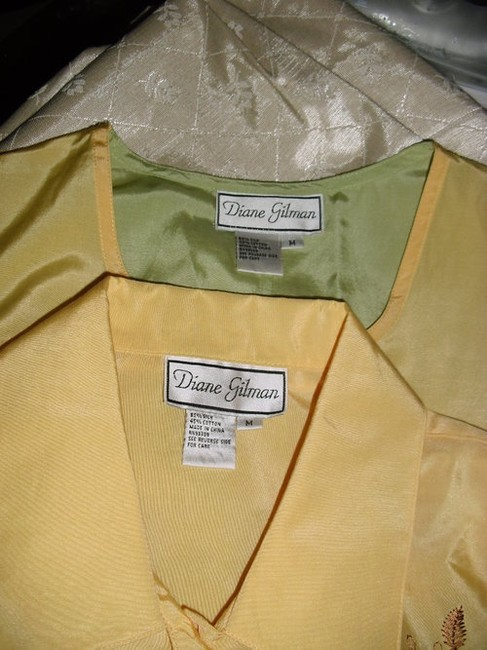 Diane Gilman Button Down Shirt yellow and green ombre Image 6