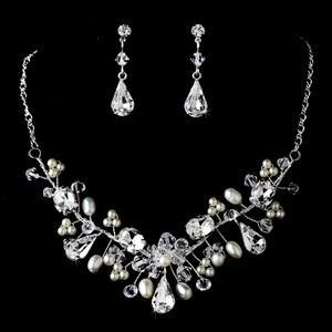 Elegance By Carbonneau Pearl And Crystal Wedding Jewelry Set