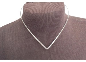 Other Solid Silver V-Neck choker necklace, measures 16