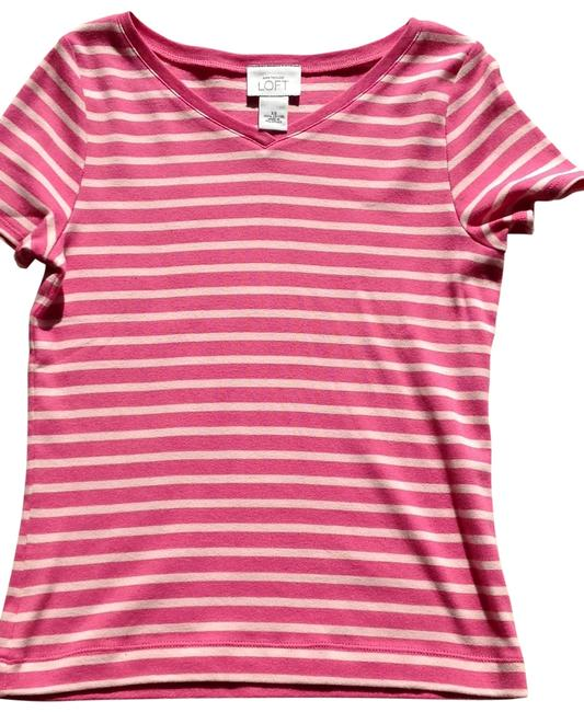 Preload https://img-static.tradesy.com/item/116134/ann-taylor-loft-pink-with-pink-stripe-cotton-on-v-neck-nwot-tee-shirt-size-2-xs-0-0-650-650.jpg