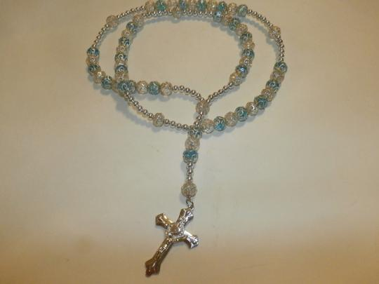 Other NEW BEAUTIFUL NO TAGS Rosary BLUE/SILVER HANDMADE Image 3