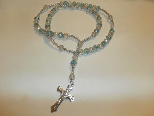 Other NEW BEAUTIFUL NO TAGS Rosary BLUE/SILVER HANDMADE Image 4