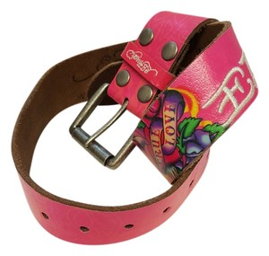 Ed Hardy Ed Hardy Pink Leather Belt