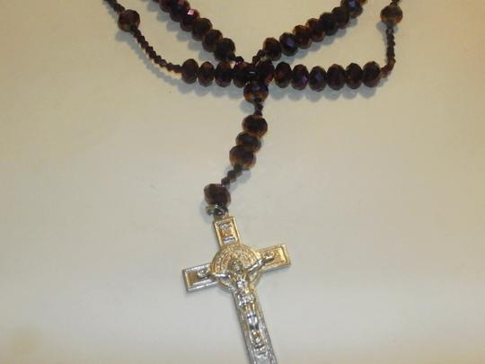 Other NEW BEAUTIFUL NO TAGS Rosary PURPLE SILVER CROSS HANDMADE Image 2