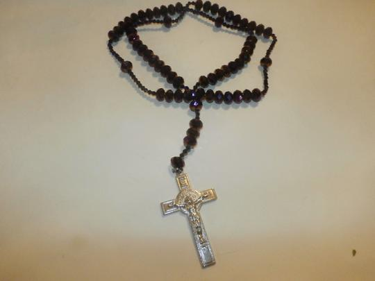 Other NEW BEAUTIFUL NO TAGS Rosary PURPLE SILVER CROSS HANDMADE Image 4