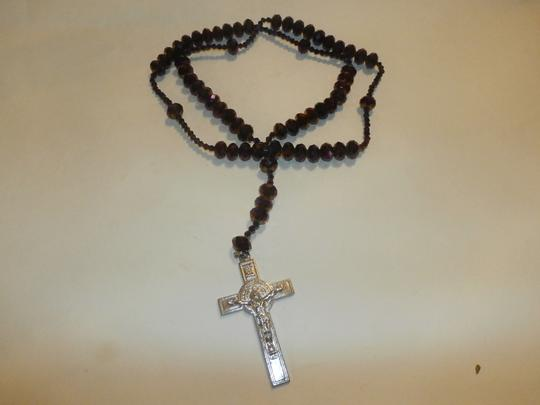 Other NEW BEAUTIFUL NO TAGS Rosary PURPLE SILVER CROSS HANDMADE Image 5
