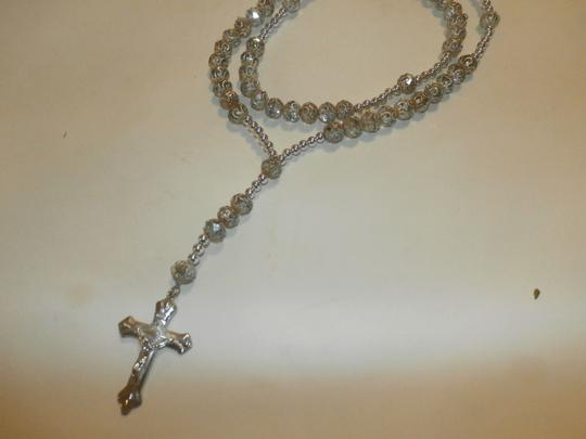 Other NEW BEAUTIFUL NO TAGS Rosary SILVER COLOR SILVER CROSS HANDMADE Image 3