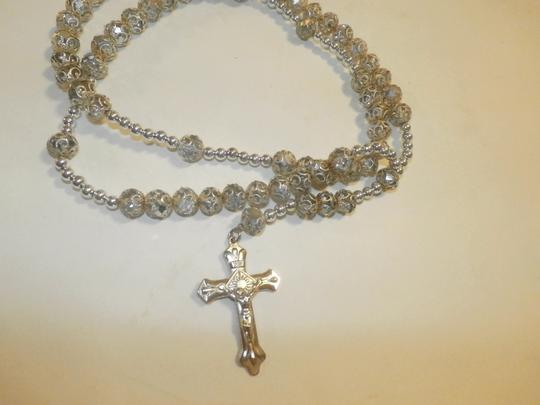 Other NEW BEAUTIFUL NO TAGS Rosary SILVER COLOR SILVER CROSS HANDMADE Image 5