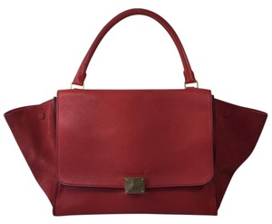 Céline Trapeze Suede Satchel in Red