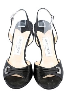 Jimmy Choo Satin Slingbacks Open Toe Black Pumps