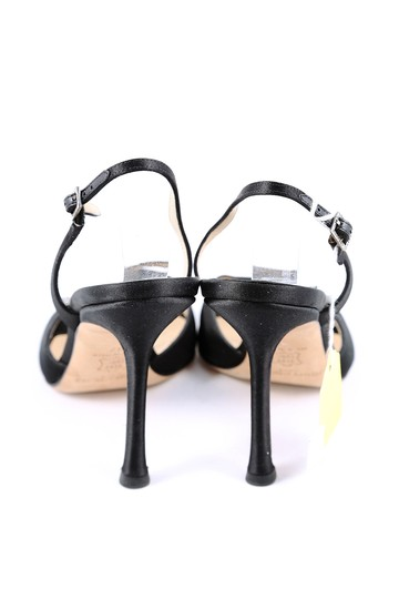 Jimmy Choo Satin Slingbacks Open Toe Black Pumps Image 2