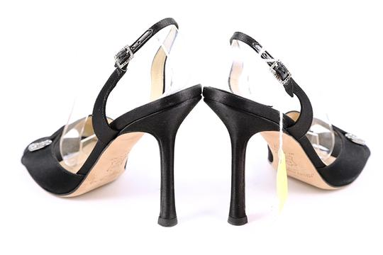 Jimmy Choo Satin Slingbacks Open Toe Black Pumps Image 3