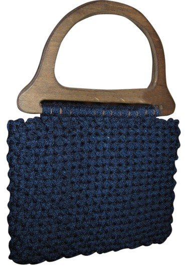 Other Funky Unique Handmade Wood Handles Tote in Navy Blue