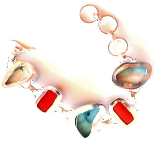 Handmade RED CORAL and TURQUOISE 925 STERLING SILVER BRACELET