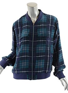 Equipment Femme Silk Navy Green White plaid Jacket