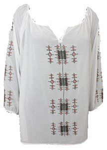 Other Sheer Embroidered V Neck Blouse Blouse Tunic