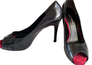 Nine West Peep Toe Patent Leather Black & Red Pumps