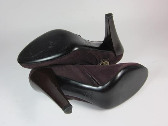 Gucci Logo Leather Short Plum Boots Image 10
