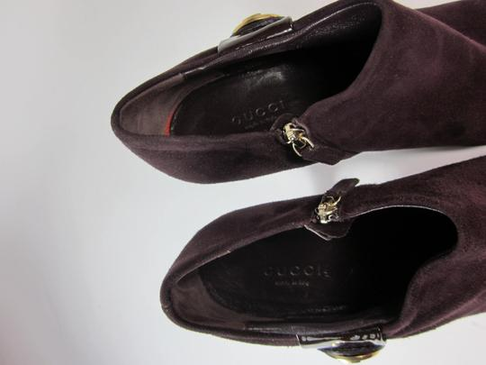 Gucci Logo Leather Short Plum Boots Image 7