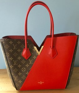 Louis Vuitton Monogram Leather Tote in Brown and Red
