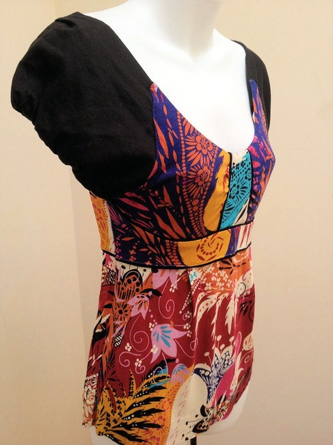 Ric Rac Puff Sleeves Empire Waist Top Multi-Color Image 1
