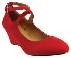 Red Circle Footwear Red Wedges