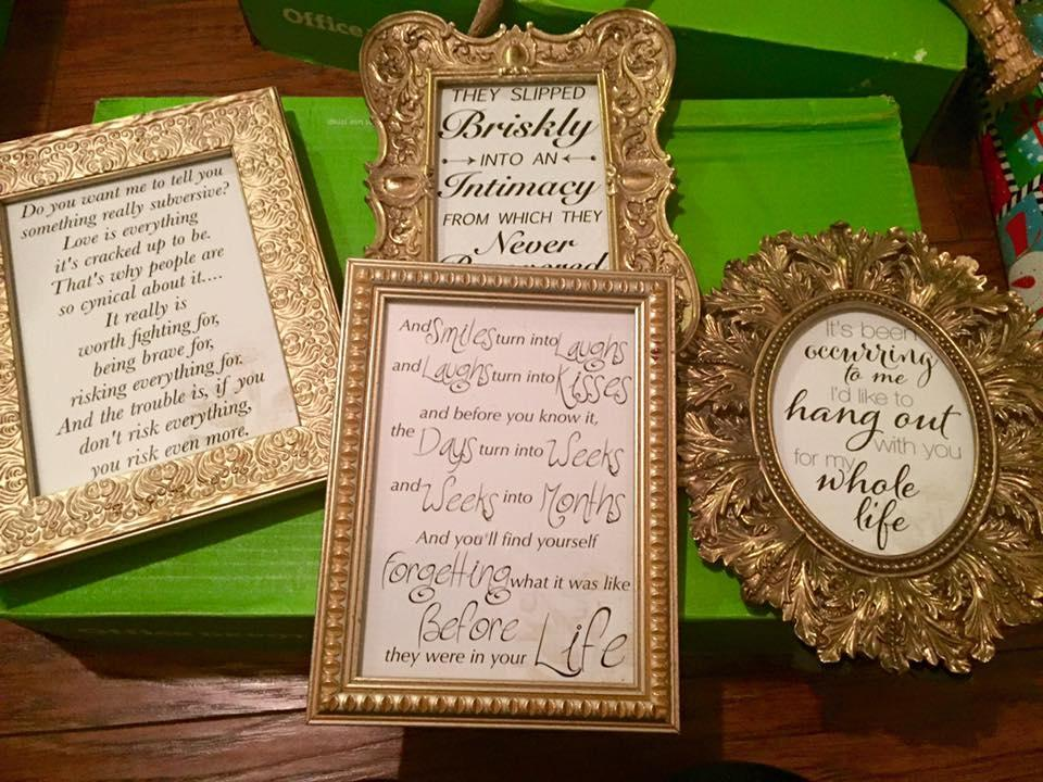 Antique Gold Love Quotes In Frames Reception Decoration Tradesy Adorable Love Quote Picture Frames