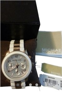 Michael Kors Michael kors Two Tone Silicone Watch Rose Gold/ White