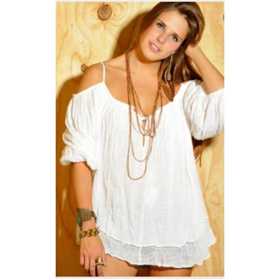 36f7987b367 Jen's Pirate Booty Natural Gauze Bowie Blouse Tunic Size OS (one ...