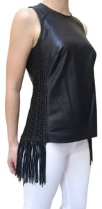 Ralph Lauren Leather Tassels Top Black