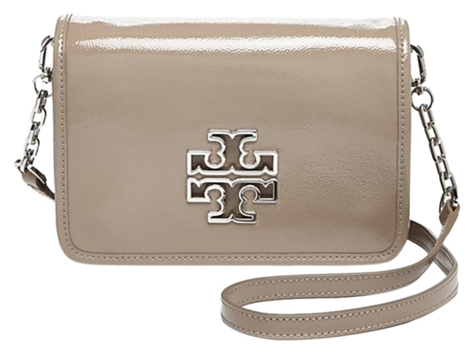 09ba86ad9a7d9 Tory Burch Britten Combo French Gray Patent Leather Cross Body Bag ...