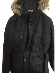 Burberry Mens Nylon Puffer Fox Fur Coat