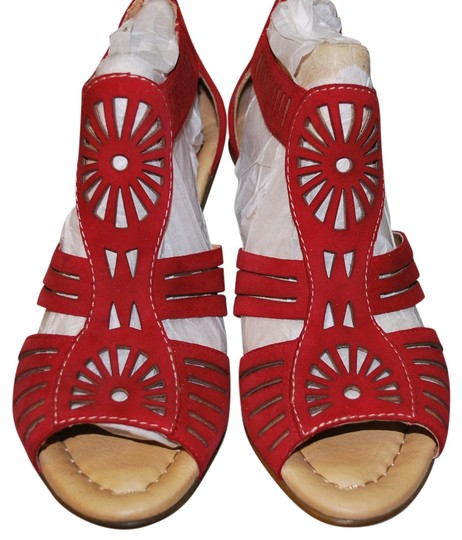 Earth Zip Back Man Made Leather Upper Red Sandals