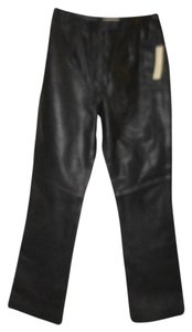 Amanda Smith Leather Lined Straight Straight Pants Black