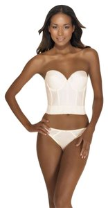 Dominique Backless Satin Longline Bra Ivory 34A