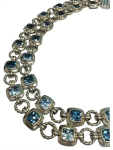 David Yurman David Yurman Sterling Faceted Blue Topaz Double Strand Necklace