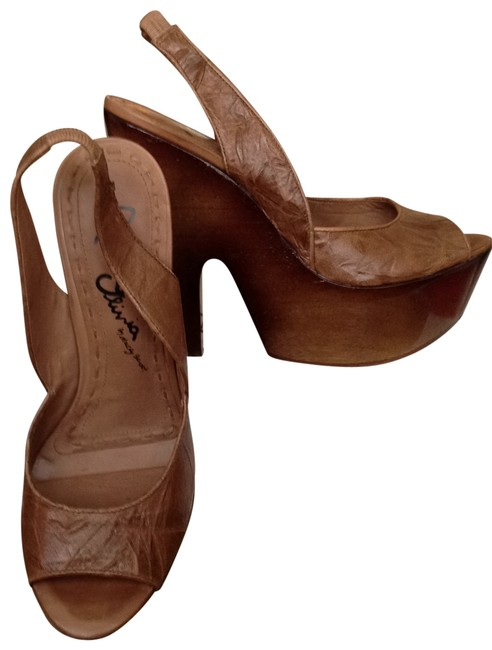 Item - Brown Sandals Wood Lacquer Heel Platforms Size US 8.5