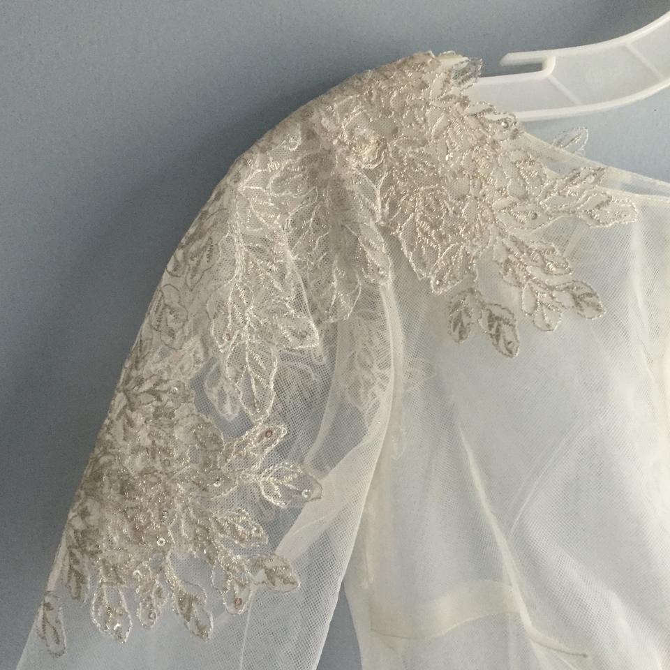 David's Bridal 3/4 Sleeve Tulle Topper With Lace Appliques