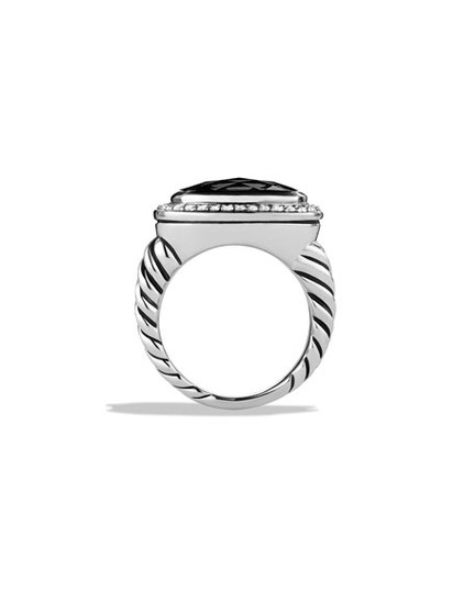 David Yurman Albion Ring with Black Onyx + Diamonds