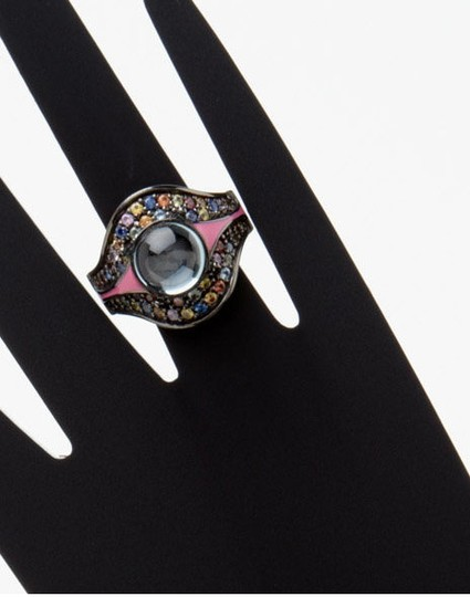 M.C.L by Matthew Campbell Laurenza MCL By MATTHEW CAMPBELL LAURENZA Sapphire Topaz Enamel Sterling Ring Image 4