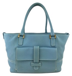 Loro Piana Leather Gold Hardware Tote in Blue