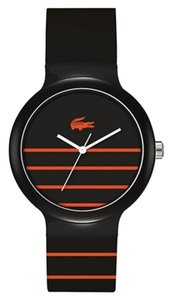 Lacoste Lacoste Unisex 2020088 Goa Stripe Black Watch With Black Silicone Band