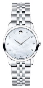 Movado Movado Women's Swiss Museum Classic Diamond Accent Stainless Steel Bracelet Watch 28mm 0606612